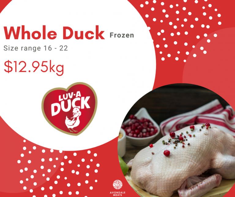 Christmas 2020 Whole Duck Frozen